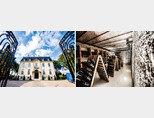 드 브노쥬 샴페인 하우스. 유네스코 세계문화유산으로 지정됐으며 호텔로도 이용되고 있다(왼쪽). 샴페인 드 브노쥬의 숙성실. [사진 제공 · ㈜와이넬]