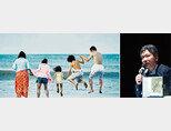 올해 칸영화제에서 황금야자수상을 수상한 '어느 가족'(왼쪽)과 7월 30일 기자간담회장의 고레에다 히로카즈 감독. [사진 제공·티캐스트, 뉴시스]