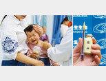 중국에서 한 아이가 백신주사를 맞으며 울고 있다(왼쪽). 중국 2위 제약업체 창성바이오테크놀로지의 백신. [VCG]