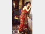 영국 화가 존 윌리엄 워터하우스의 유화 '티스베'(1909). 이웃집 총각 피라모스가 속삭이는 사랑의 밀어에 귀 기울이고 있다. [위키피디아]