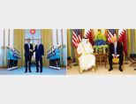 타밈 빈 하마드 알사니 카타르 국왕(왼쪽)과 레제프 타이이프 에르도안 터키 대통령이 악수하고 있다. 타밈 빈 하마드 알사니 카타르 국왕이 백악관에서 도널드 트럼프 미국 대통령과 대화하고 있다(왼쪽부터). [터키 대통령실 사이트, 백악관]