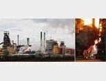 경북 포항 남구 형산강 건너로 바라보이는 포스코 포항제철소(왼쪽)와 충남 당진군 현대제철소. [박해윤 기자, 동아일보]
