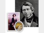 영국의 문필가이사 사회사상가였던 존 러스킨(1863·위)과 그의 부인 에피 그레이를 그린 토마스 리치몬드의 초상화(1865·왼쪽) 그리고 러스킨이 직접 그린 그의 '이뤄질 수 없는 사랑' 로즈 라 투셰의 초상화(1861). [위키미디어, 위키피디아]