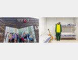 워너원 전시회가 열리는 서울 용산구 아이파크몰 7층 하늘공원 상상공간뮤지엄. (왼쪽) 워너원 숙소의 침실.