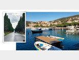 1 해안에서 볼게리 마을로 이어지는 사이프러스 길. 2  레리치 해안 마을 전경. [사진 제공 · 김상미]