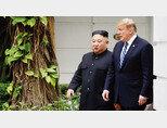 하노이 회담에서 만난 김정은 북한 국무위원장과 도널드 트럼프 미국 대통령. [AP=뉴시스]