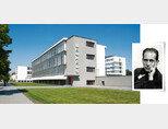 데사우 바우하우스 작업장 건물. (왼쪽) 바우하우스의 아버지 발터 그로피우스. [사진 촬영가 루이스 헬트, ©GNTB 독일관광청]