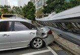 부산서 돌풍에 70m대형 사다리 넘어져…차량4대 파손