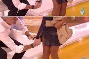 [영상]생방송 중 女진행자 치마를 가위로 갈기갈기…속옷까지 노출