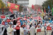 """""""WTO 개발도상국 포기, 농민에 대못""""…국회 앞 총궐기"""