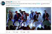 """방탄소년단, 韓 그룹 첫 AMAs 공연…美 언론 """"BTS, 차원 다른 완벽 안무"""""""