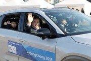 '넥쏘' 타고 파리 시내 달린 文대통령, 한-불 수소경제 손잡았다