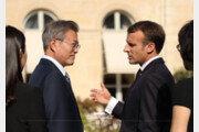 """마크롱 """"北 비핵화·미사일 폐지 의지 보이길…그때까진 유엔제재 계속해야"""""""