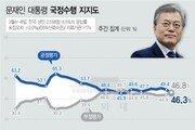 文 지지율 다시 '데드 크로스'…북미회담·미세먼지 등 여파