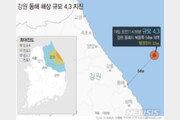 """동해시 인근서 규모 4.3 지진 발생…""""원전운전에 영향 없어"""""""