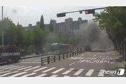 안산 시내버스 주행 중 화재…승객 20여명 대피 소동