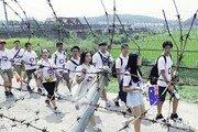 [퇴근길 한 컷]임진각 철책길 걷는 재외동포 학생들