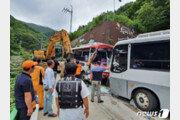 울릉도 내리막길서 관광버스 두대 충돌…34명 부상