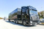 현대차, 대형트럭 고속도로 군집주행 국내 최초 시연