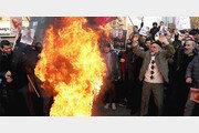 영국 국기 불태우는 이란 친정부 시위대