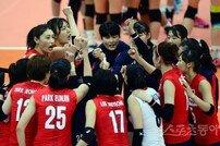 [포토] 여자배구대표팀 '우리가 이겼다!'