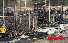 칠곡 미군 부대서 화재 발생…'다 타버린 건물'