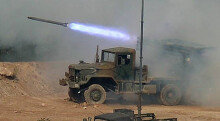 [화보] 대한민국 방위산업전 화력 시범…'불 뿜는  다련장 로켓'