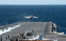 [화보] 美 항공모함 로널드 레이건…'이륙하는 F-18 전투기'