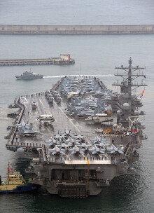 [화보] 부산에 입항한 '바다위 군사기지' 로널드레이건함