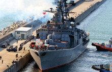 부산 입항한 러시아 에드미럴 트리부츠함