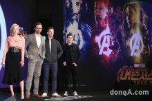 영화 '어벤져스 인피니트 워' 내한 기자회견… '특급 히어로 4인방'