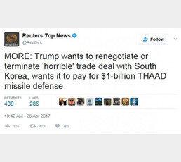 """트럼프, 사드비용 10억달러 발언에 여론 격앙…""""땅값 100억달러 요구하자"""""""