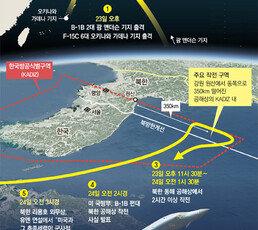 B-1B에 조기경보기 '실전전력' 총출동… 美, 北 단독타격 경고