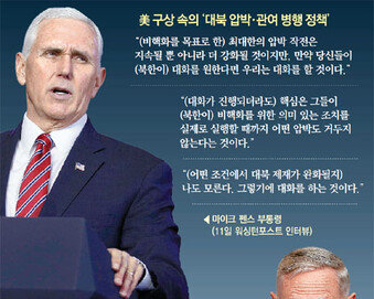 """펜스 만난 문재인 대통령 """"비핵화 조치 없으면 北에 보상 안할것"""""""