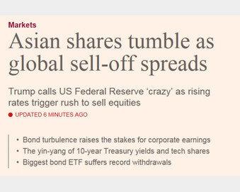 """Fed 미쳤다"" 트럼프 이 한마디가 전세계 주식 매도 촉발"
