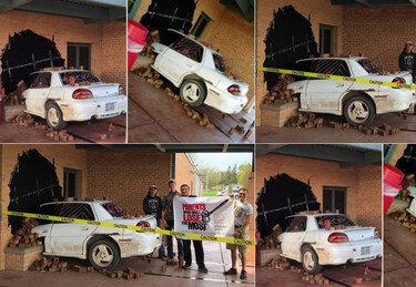 건물에 차량 돌진, 그냥 돌아간 경찰…왜?