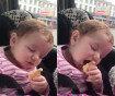 """""""과자 먹어야하는데…"""" 졸음과 사투 중인 아이 '웃음'"""