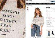 뚱뚱한 몸매 폄하하는 문구 쓰인 티셔츠 논란
