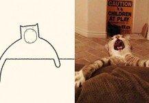 """""""이모티콘에 제격""""…고양이 단순하게 그려낸 예술가 '감탄'"""