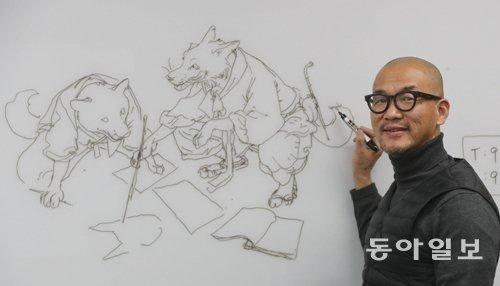 Drawing artist Kim Jung-gi talks about live drawing