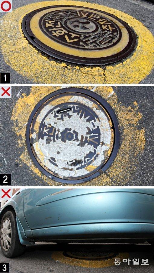 Illegally parked vehicles block underground fire plugs