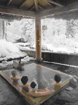 Amazed by Snowy Scenery, Relaxed by Hot Steam