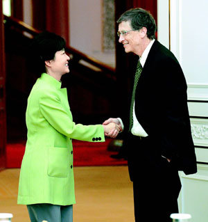 Pres. Park meets Bill Gates