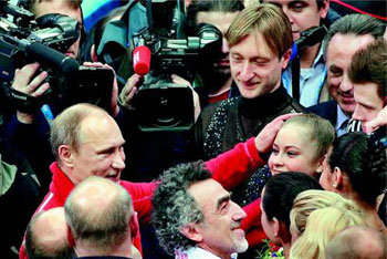 Putin roots for figure skater at Sochi