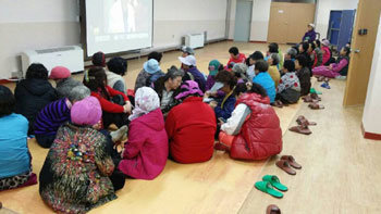 Yeonpyeong residents in shelters