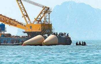 Large barge anchored