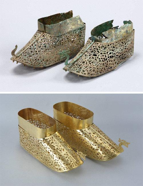「馬韓工芸の真髄」羅州チョンチョン古墳の金銅靴の模写品を公開