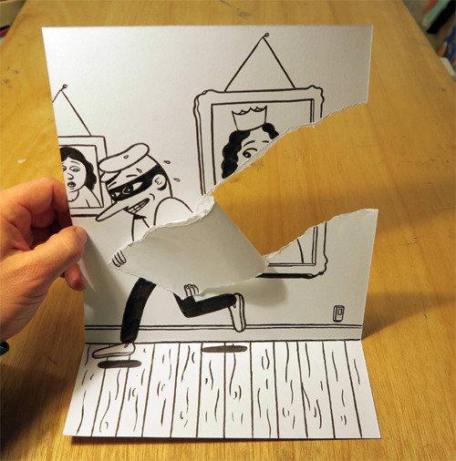 しわくちゃにしたり、畳んだり、破いたり…紙を使った不思議な3Dイラストの世界