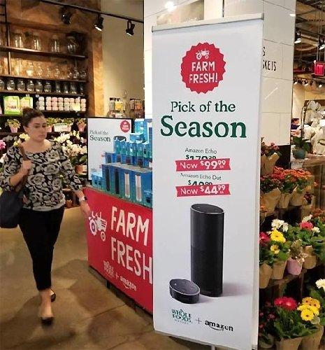 食品売り場にAIスピーカー、アマゾンの「流通勢力図の覆し」
