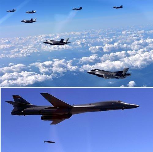 B1B戦略爆撃機とF35Bステルス戦闘機、初めて韓半島に同時出撃
